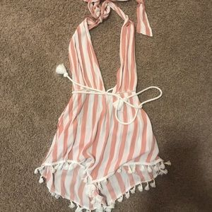 Striped romper/ swimsuit cover up